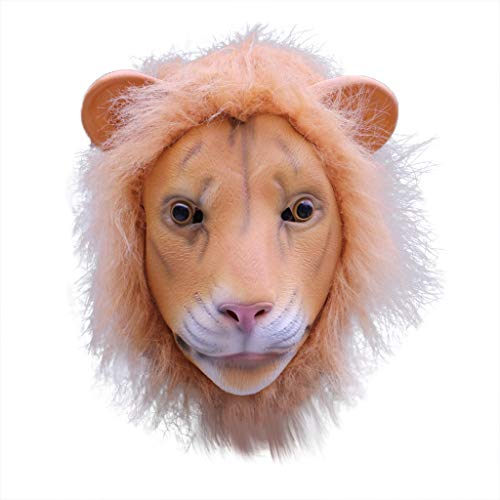 Binory Comical Mask Masquerade Lion Head Mask,Animal Cosplay Costume The Latex Mask,April Fool Decoration Halloween Accessories Novelty & Gag Toys for Kids Boys Girls ()