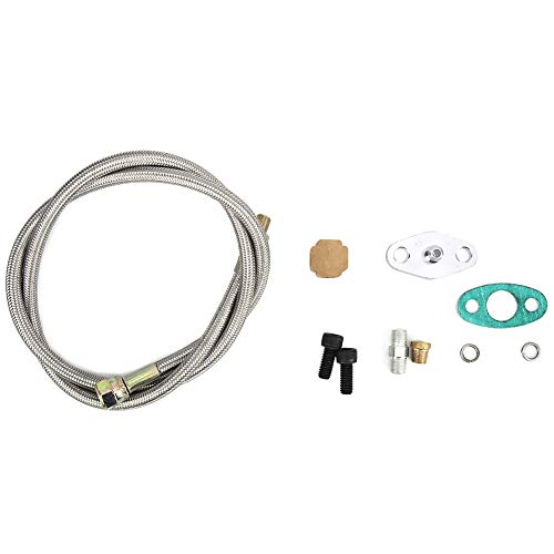 Turbo Oil Feed Line Kit,Car Modification Accessories Turbo Oil Feed Return Drain Line Kit 1/8 NPT Thread Turbo Oil Inlet Feed Line Set Fit for T3: