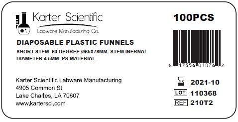 Karter Scientific 210T2 Clear PS Plastic Funnels, Short Stem, 65mm (Pack of 100)