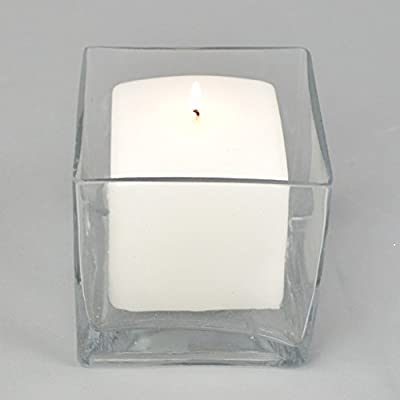Clear Square Glass Vase Size 5x5x5 Inches Votive Floating Candle Holder and Floral Centerpiece - Case of 12