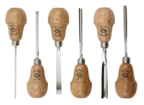 Two Cherries 511-0050 6-Piece Pear-Handled Wood Carving Set Handled Carving Set