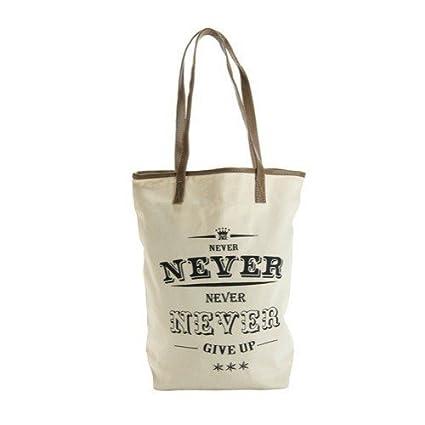 Estudios JKC Estudios algodón natural bolsa de mano con la falsa tapicería de cuero, Never