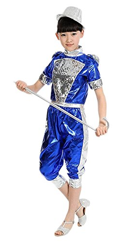 AvaCostume 2-Piece Set Latin Dance Costumes Unisex Performance Clothing, SBlue, 6X