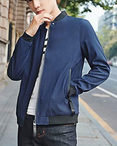 Estilo Chaqueta Azul Hombre Slim Deportiva Fit Bomber Algodón Jacket Basic Ligero De para Casual Abrigo tqAF6qrU