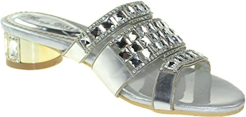CFP Womens Comfort Bride Unique Rhinestone Wedding Party Show Slip on Flat Leather Slippers Silvery pW1uxquP