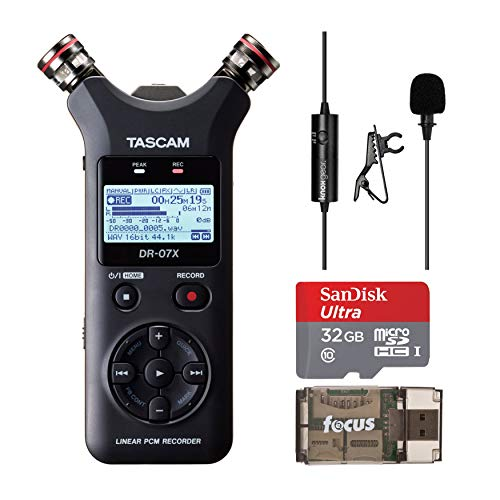 (Tascam DR-07X Stereo Handheld Digital Audio Recorder and USB Audio Interface Bundle with 32GB MicroSD Card, Knox Clip-On Lavalier Mic and Focus USB 2.0 Card Reader)