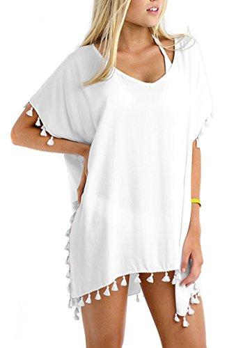 GDKEY Women Chiffon Tassel Swimsuit Bikini Stylish Beach Cover (Women Plus Size White Suits)