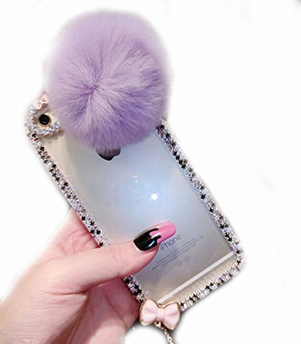 iPhone SE Case,iPhone 5/5S Plus Plush Ball Diamond Ear Cover,Blixy Trendy Bling Crystal Mouse Ear Plush Ball Soft Fluffy Fur Ball Clear Fit Case For iPhone SE/5/5S Plus