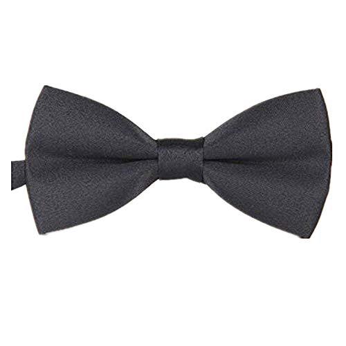 Unisex Polyester Silk Casual Jacquard Monochrome Double Bow Tie Plain Bowtie Wedding Tuxedo Necktie Accessory (A)
