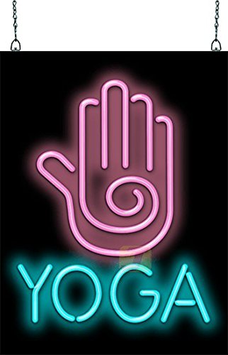 - Yoga with Hand Graphic Neon Sign