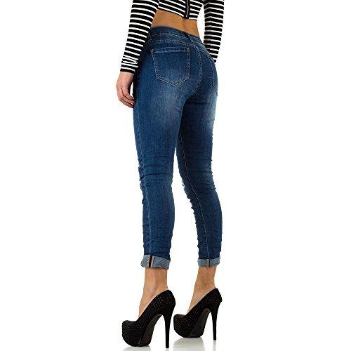 Mozzaar Destroyed Skinny Jeans Für Damen , Blau In Gr. L bei Ital-Design