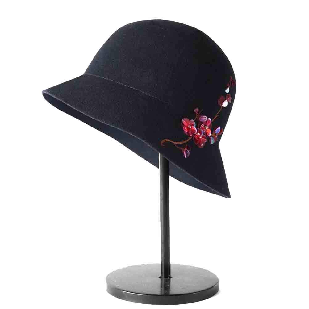 BLACK SUNNY Cloche Bucket Hats for Women,Embroidered Sequined Top Hat Winter Hat, Fashion Flower Decoration (color   Light tan)