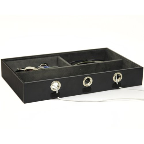 Valet Functional Tray Charging Station for Cell Phones Coins Keys Jewelry Black Leather