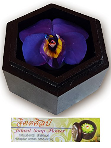 Jittasil Hand-Carved Soap Flower, Violet Scented Gift Set in Decorative Wood Case, 4 Inch by Jittasil Hand-Carved Soap