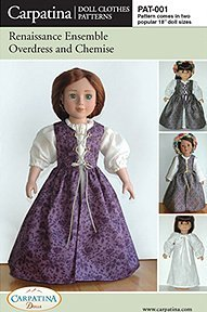 Halloween 18 Costume Patterns Inch Doll (Renaissance Dress Pattern in 2 Sizes: For 18