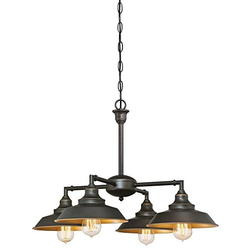 6345000 Iron Hill Four-Light Indoor Chandelier/Semi-Flush Ceiling Fixture, Oil Rubbed Bronze Finish with Highlights