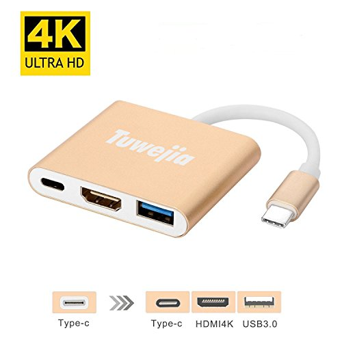 USB 3.1Type-C To HDMI Adapter Tuwejia 4K+USB 3.0+USB-C Converter Cable Charging Port Adapter Cable with Large Projection for MacBook/Chromebook Pixel/Dell XPS13/Yoga 900/Lumia 950Xl