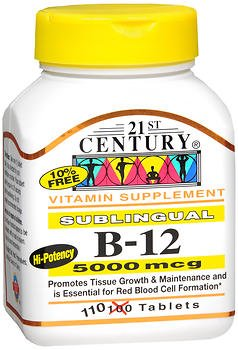 21st Century B-12 5000 mcg Tablets Sublingual - 110 ct, Pack of 6