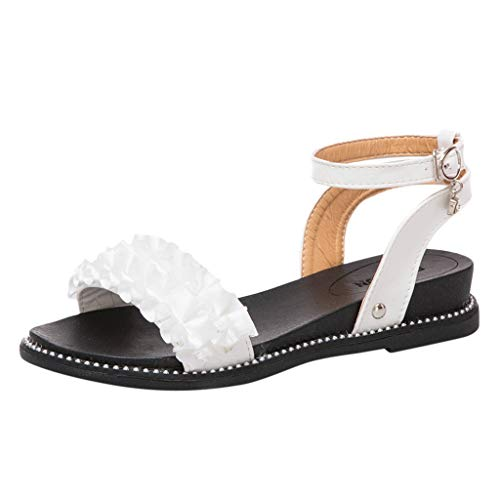 Women Ruffle Sandal - Ladies Peep Toe Ankle Strap Buckle Flat Sandals - Summer Beach Outdoor Daily ()