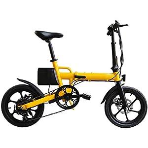41EDVvJjR4L. SS300 16in pieghevole E-Bike lega di alluminio ultraleggera Scooter portatile con rimovibile Grande capacità agli ioni di litio (36V 8AH), Freni a disco doppio bicicletta elettrica per il Commuter,Giallo