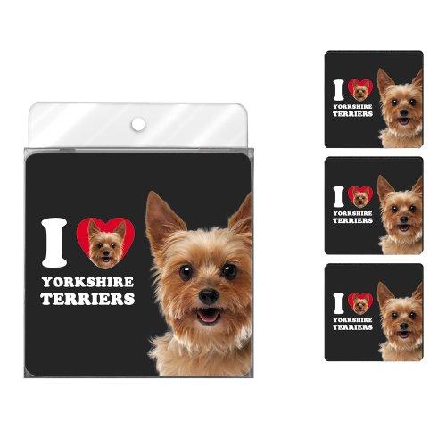 (Tree-Free Greetings NC39144 I Heart Yorkshire Terriers 4-Pack Artful Coaster Set)