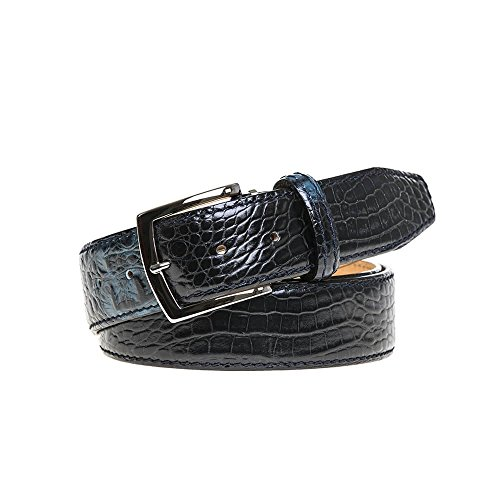 Blue Vintage Twice Italian Mock Croc Belt by Roger Ximenez: Bespoke Maker of Fine Leather Goods