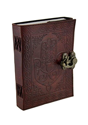 Leather Art Sketchbooks And Notebooks Hamsa Hand Brown Embossed Leather Bound Journal 5X7 In. 7 X 5 X 1 Inches Brown - Hamsa Leather