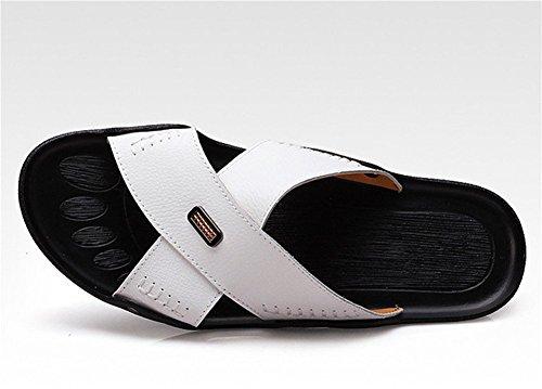 insun Herren Leder Nähten Slipper Sandale Weiß