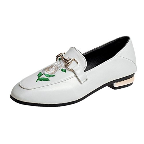 GIY Womens Classic Penny Loafers Buckle Square Toe Slip-On Embroidery Casual Dress Loafer Oxford Shoes White FGDqE