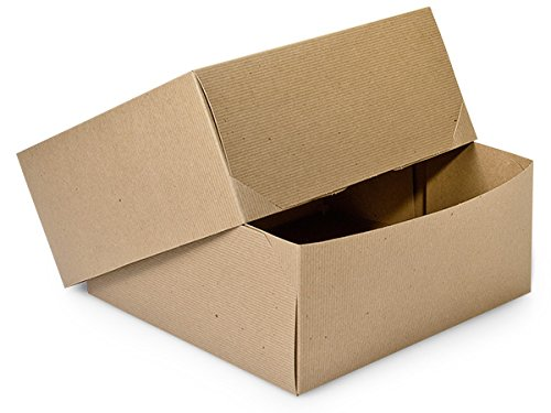 Pack Of 50, Natural Brown Kraft Gift Boxes - 2 Piece Box Solid 12 X 12 X 5.5'' Made In USA