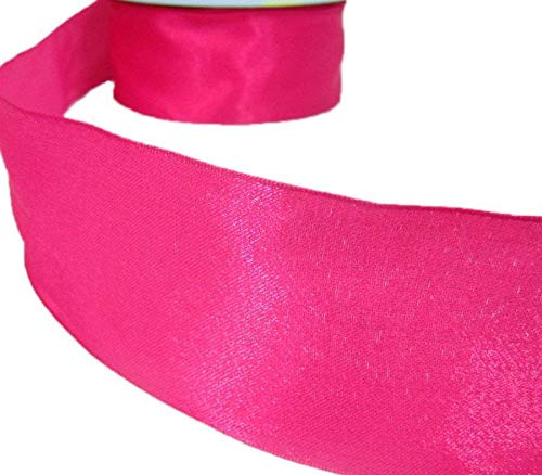 Authentic Pink Ribbon - Ribbon Art Craft Decoration 5 Yards Solid Shimmery Hot Pink Wired Ribbon 2 1/2