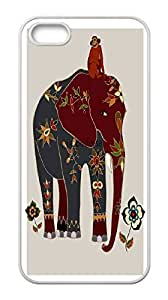 Hard plastic back case cover skin protective with monkey and eleplant,Iphone 5 5S cases,Tribal Print Picture Pattern Painting Design -(White).