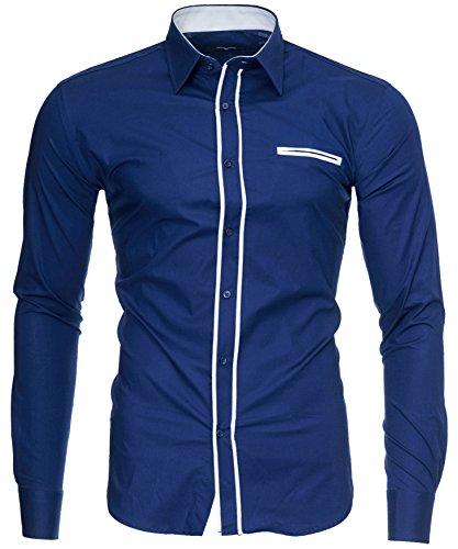 Facile Uomo Darkblue K Fit 2face Cotone Xxl Slim M Lungo Maniche Camicia modello 2xl L london Kayhan Xl Stiro S Originale qw1C4CxF