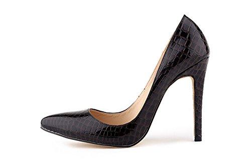 Sexy Pumps Damen-Krokodil-Korn-Muster spitz High Heels Stilettos braun
