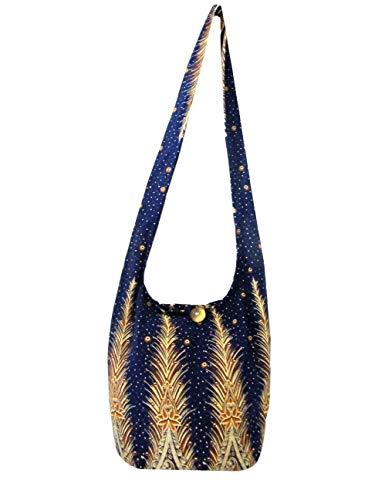 Peacock Feather Print Handbag Crossbody Bag Hippie Hobo Shoulder Thai Boho Sling Purse for Women Medium (Deep Purple)