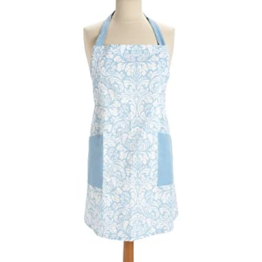 DII 100% Cotton, Fashion Printed Damask Unisex Chef Kitchen Apron, Adjustable Neck Strap & Waist Ties, Machine Washable, Front Pockets, Perfect for Cooking, Baking, Barbecuing, & More - Light Blue