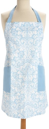 DII 100% Cotton, Fashion Printed Damask Women Kitchen Apron, Adjustable Neck Strap & Waist Ties, Front Pockets, Machine Washable, Perfect for Cooking, Baking, BBQ-Light Blue
