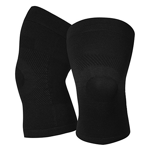 (Knee Compression Sleeves, 1 Pair, Lightweight Knee Brace Sleeve for Men Women, Upgraded Knee Support for Meniscus Tear, Arthritis, Pain Relief, Injury Recovery, Sports, Daily Wear. Black XL)