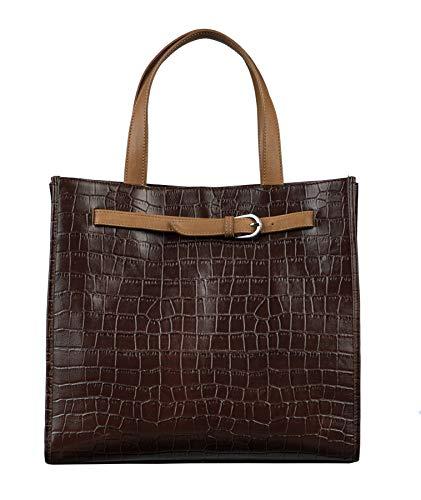 Emma Tote Bag - Antonio Valeria Emma, Brown Croco Print, Premium Leather, Top-Handle Tote for Women