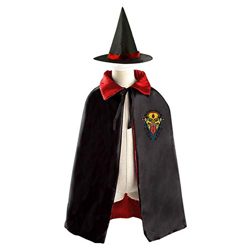 (69PF-1 Halloween Cape Matching Witch Hat Ugly Mask Wizard Cloak Masquerade Cosplay Custume Robe Kids/Boy/Girl Gift)