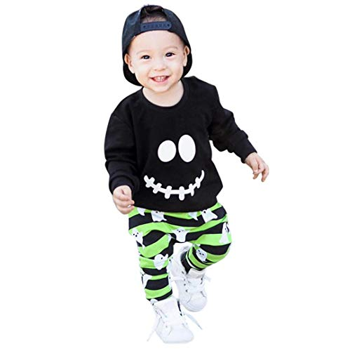 1-4 T Halloween Outfits Set Toddler Baby Boys Girls Cartoon Ghost Pattern Tops Pullover T Shirt Striped Pants Party Costume (Black, 6-12 Months)]()