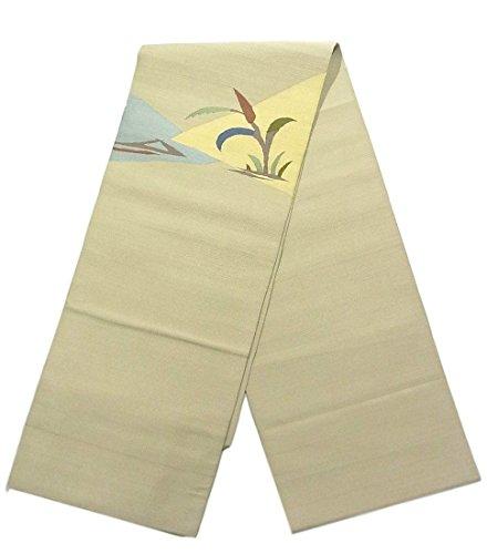 瞑想的バーベキュー倉庫リサイクル 名古屋帯 八寸 綴れ 湊取りに植物文 正絹