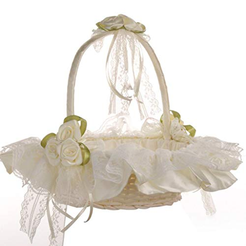 Excursion Home Flower Girls Basket - Elegant Bowknot Pearl Silk Cloth Petal Basket - Wedding Ceremony Party Rose Flower Girl Makeup White Baskets Gift - Wedding Decorations Supplies (White) -