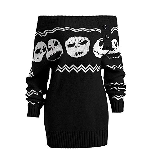 BETTERUU Fashion Womens Long Sleeve Knitted Halloween Skull Off Shoulder Botton Sweater -