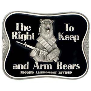Pewter Belt Buckle - The Right To Keep and Arm Bears