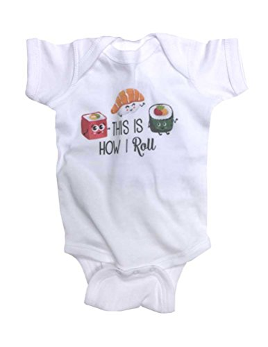 Hello Handmade This Is How I Roll Japanese Sushi Funny Baby Bodysuit (6 Months, White)