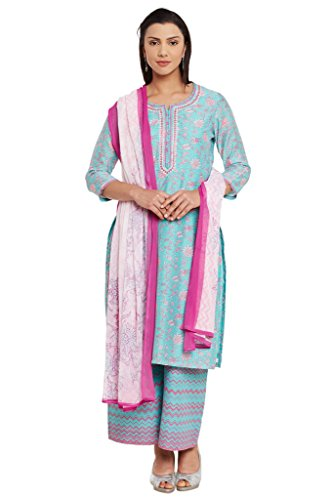BIBA-Womens-Poly-Cotton-Straight-Suit-Set-Aqua-Green