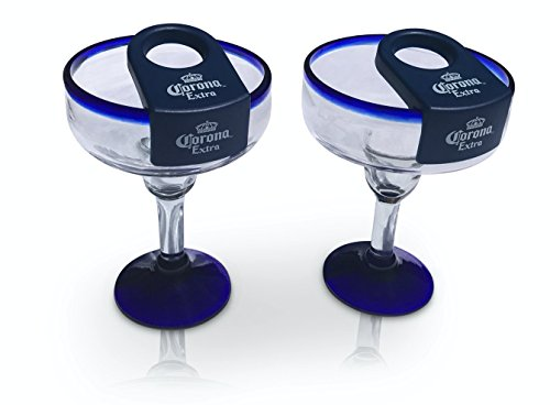 Coronarita Margarita Glasses with Clip Handmade in Mexico - Set of 4, 16oz. by Pueblo Glassware