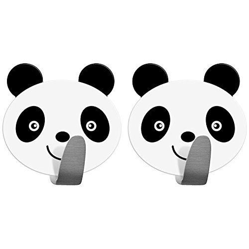 Two Pandas (Tatkraft PANDA Self Adhesive Hooks for Towels, Bathrobe and Loofah, Beautiful Design for Kitchen & Bathroom, Stainless Steel, Set of 2, Panda Decor)