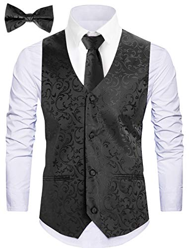 - WANNEW Mens Vest Suit Vests Tuxedo Vest Vest for Men(X-Large, Black 2#)
